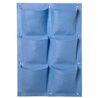 Plantentas vilt blauw met 6 zakken (20x19cm) H72x50cm