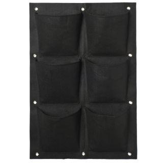 Plantentas vilt zwart met 6 zakken (20x19cm) H72x50cm