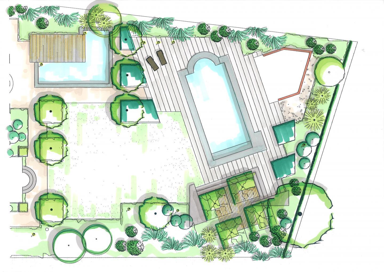 Strakke achtertuin met zwembad en betonblokken