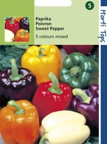 Paprika 5 Kleurenmengsel (zaad van Paprika Orange Horizon, Yellow Sunbright, Purple Bell, white Bell, Yolo Wonder)