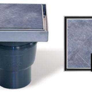 vloerput BlueStone RVS met onderuitlaat (ACO Easygarden artikelnummer BIV001)