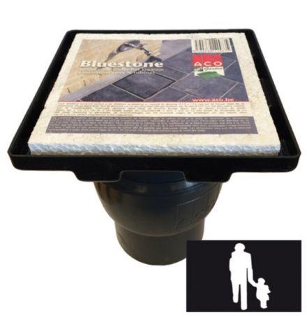 Vloerput BlueStone met kunststof opzetstuk + stankslot en onderuitlaat 110mm (ACO Easygarden artikelnummer BKV001)