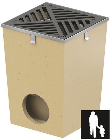 Afwateringsput 25 x 25 cm gietijzeren rooster met randbescherming (Vloerput Polymeerbeton, ACO Easygarden artikelnummer 36890)
