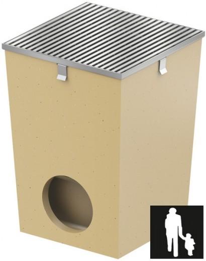 Afwateringsput 25 x 25 cm met RVS rand en rooster (Vloerput Polymeerbeton, ACO Easygarden artikelnummer 37185)