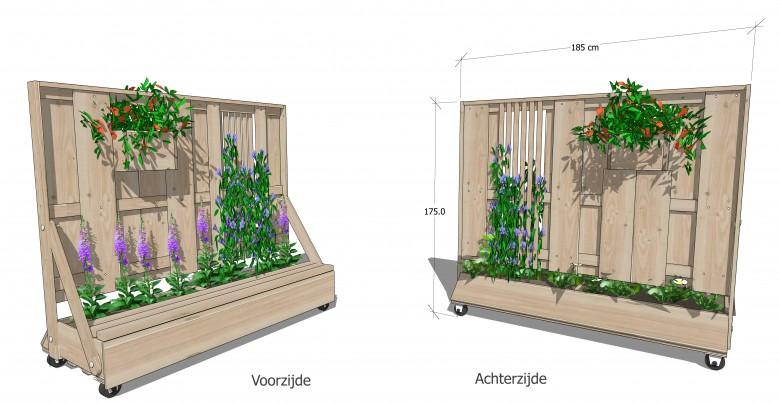 Verrijdbare schutting, met trellis, plantenvak en bankje (Verplaatsbare schutting)
