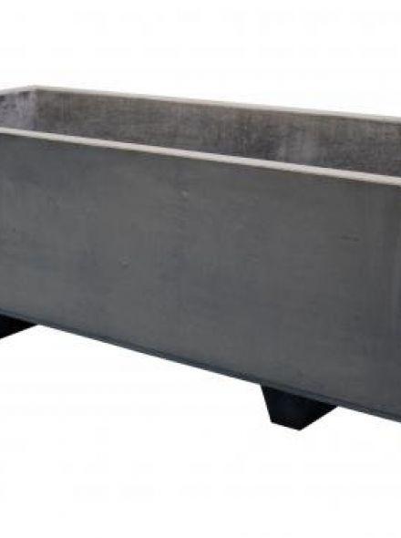 Rechthoekig Betonnen bloembak met 2 voeten 200x100x70 cm grijs (bloembakken van beton artikelnummer 21290G)