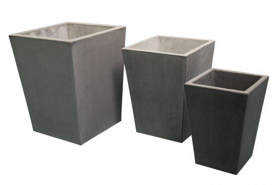 Conische betonnen Bloembak grijs 35x35x Hoogte 50cm (artikelnummer 20610G)
