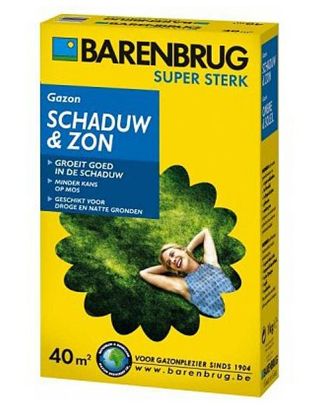 Barenbrug Schaduw & Zon 1000 gram (graszaad 40 m2 siergazon in de schaduw, Artikelnummer 0231)