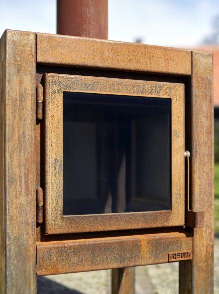 Buitenkachel Quaruba (TKC2ZLO, 2 zijden glas, deur en links)