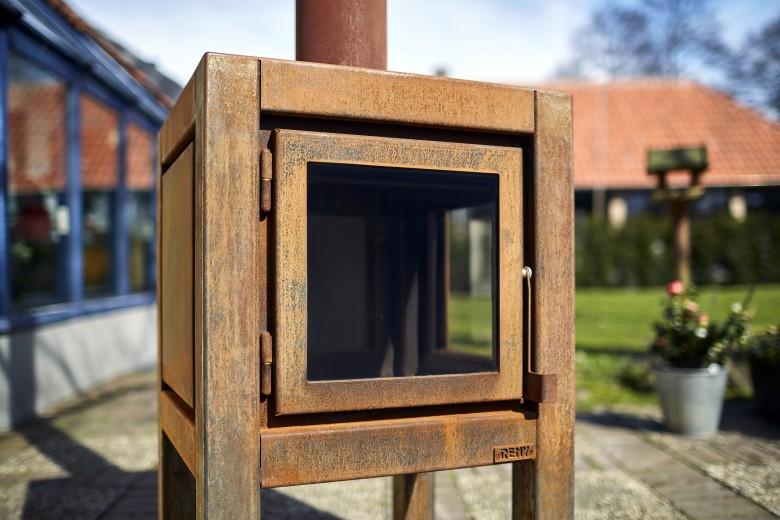 Buitenkachel Quaruba (TKC2ZRO, 2 zijden glas, deur en rechts)