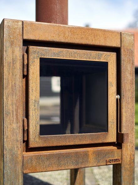 Buitenkachel Quaruba (TKC2ZDK, 2 zijden glas, deur en achterkant)