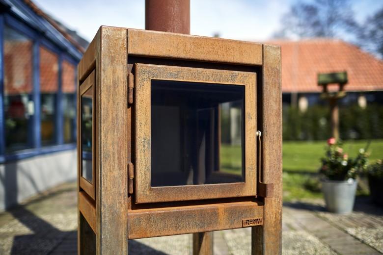 Buitenkachel Quaruba (TKC3Z, 3 zijden glas, deur, links en rechts)