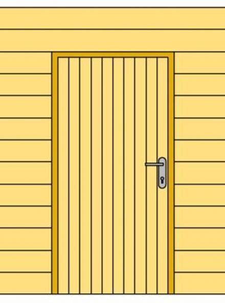 Wand A met blokhutprofiel en enkele deur 178,5 x 234 cm, Blank (Woodvision 83095)