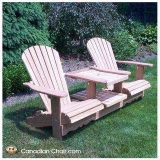 Double Adirondack Chair Scrolled - standaard en onbehandeld (Tête a Tête, Canadian Chair, Canadese tuinstoel)