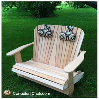 Loveseat Adirondack Chair Scrolled - standaard en onbehandeld (Canadian Chair, Canadese tuinstoel)