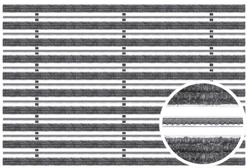 Voetmat  75 x 50 x 2 cm, aluminium met tapijt- en borstelstroken, antraciet ATBA (ACO Easygarden artikelnummer 37161)