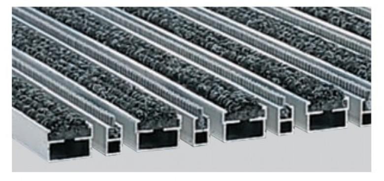 Voetmat 100 x 50 x 2 cm, aluminium met tapijt- en borstelstroken, antraciet ATBA (ACO Easygarden artikelnummer 37162)