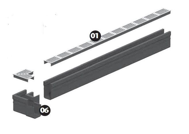 ACO Slimline hoekelement blank aluminium (Easygarden 19006)