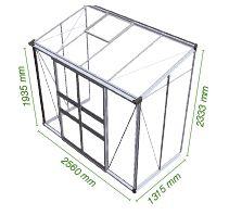 Muurkas Broadway 84, blank aluminium, veiligheidsglas 3mm/1  (Eden Greenhouses, Royal Well)