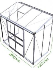 Muurkas Broadway 84, blank aluminium, polycarbonaat 6mm/1  (Eden Greenhouses, Royal Well)