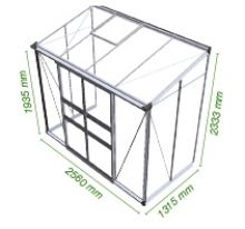 Muurkas Broadway 84, blank aluminium, polycarbonaat 6mm/1  (Eden Greenhouses, Royal Well)