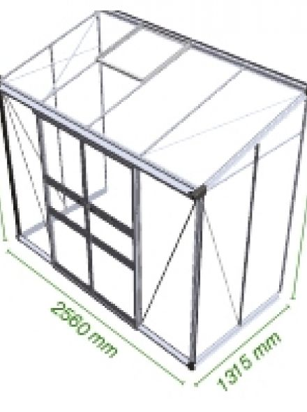 Muurkas Broadway 84, zwart gecoat, polycarbonaat 6mm/1  (Eden Greenhouses, Royal Well)