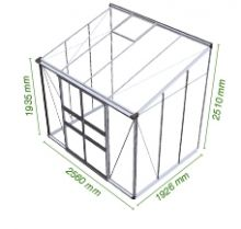 Muurkas Broadway 86, polycarbonaat 6mm/1  (Eden Greenhouses, Royal Well)