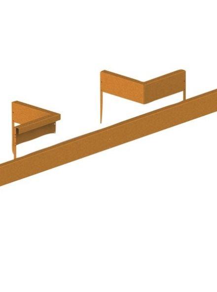 Cortenstaal randafscheiding binnenhoek 90 (gezette variant - art. 12005142)
