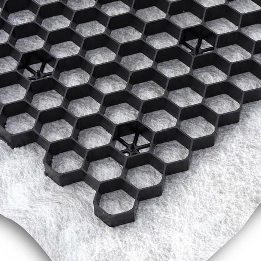 Zwarte grindplaat met antiworteldoek 119 x 78,6 x 3 cm (111 stuks = 99,39 m2 - EXCELLENT)