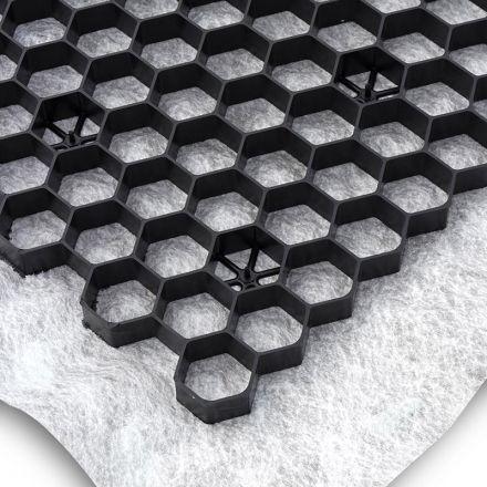 Zwarte grindplaat met antiworteldoek 119 x 78,6 x 3 cm (296 stuks = 265,04 m2 - EXCELLENT)