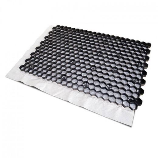 Zwarte grindplaat met antiworteldoek 119 x 78,6 x 3 cm (74stuks = 66,26 m2 - EXCELLENT)