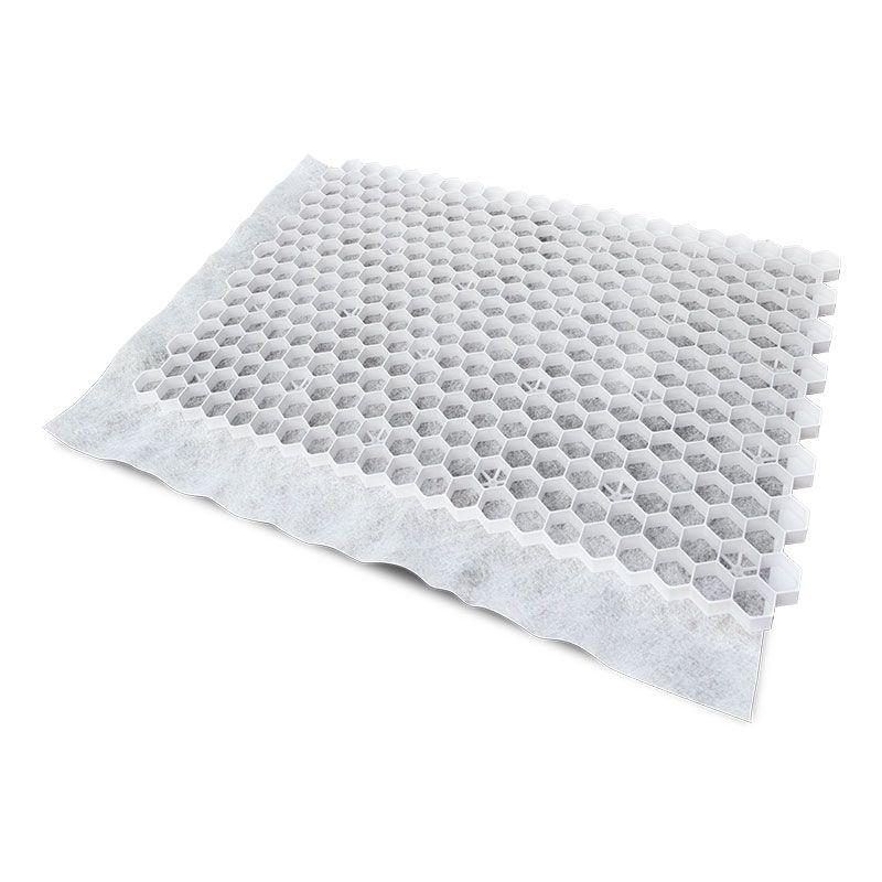 Witte grindplaat met antiworteldoek 119 x 78,6 x 3 cm (37 stuks = 33,13 m2 - EXCELLENT)