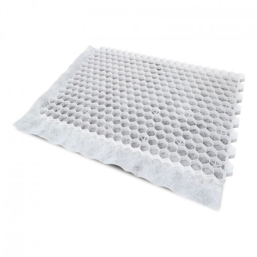 Witte grindplaat met antiworteldoek 119 x 78,6 x 3 cm (111 stuks = 99,39 m2 - EXCELLENT)