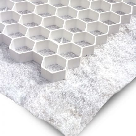 Witte grindplaat met antiworteldoek 119 x 78,6 x 3 cm (185 stuks = 165,65 m2 - EXCELLENT)