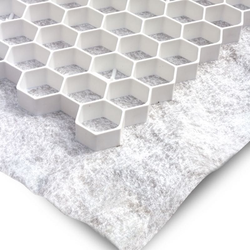 Witte grindplaat met antiworteldoek 119 x 78,6 x 3 cm (259 stuks = 232,91 m2 - EXCELLENT)
