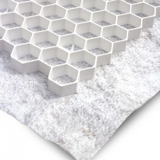 Witte grindplaat met antiworteldoek 119 x 78,6 x 3 cm (370 stuks = 331,30 m2 - EXCELLENT)