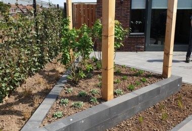 Moderne tuin in diagonalen