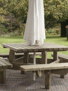 Talen | Picknicktafel Vierkant | 195 x 195 cm | 45 mm dik