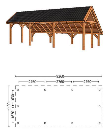 Trendhout | Kapschuur De Hoeve XL 9.26m | Combinatie 1