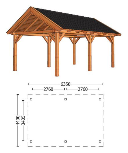 Trendhout | Zadeldakschuur XL 6350 mm | Combinatie 1
