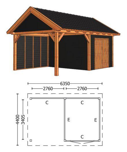 Trendhout | Zadeldakschuur XL 6350 mm | Combinatie 4