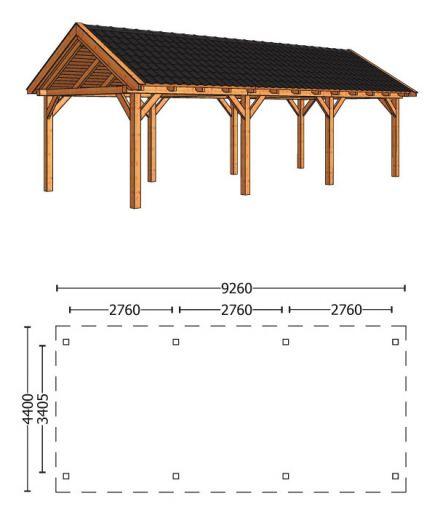 Trendhout | Zadeldakschuur XL 9260 mm | Combinatie 1