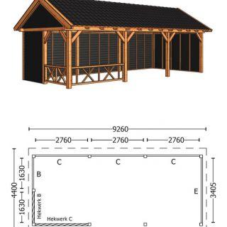 Trendhout | Zadeldakschuur XL 9260 mm | Combinatie 3