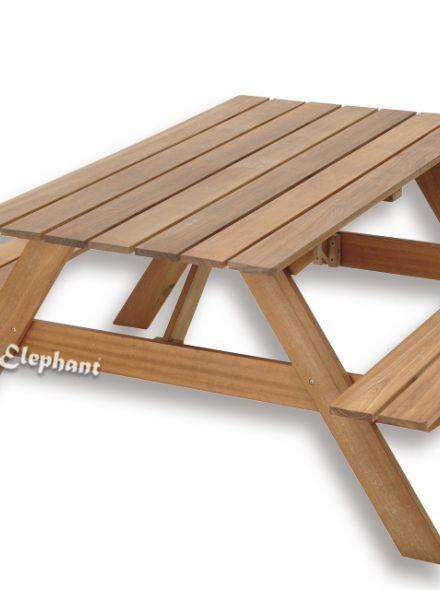 Elephant | Picknicktafel hardhout met opklapbare banken