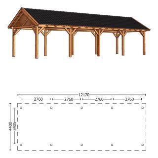 Trendhout | Zadeldakschuur XL 12170 mm | Combinatie 1
