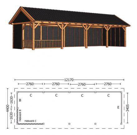 Trendhout | Zadeldakschuur XL 12170 mm | Combinatie 2