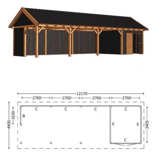Trendhout | Zadeldakschuur XL 12170 mm | Combinatie 3