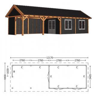 Trendhout | Zadeldakschuur XL 12170 mm | Combinatie 4