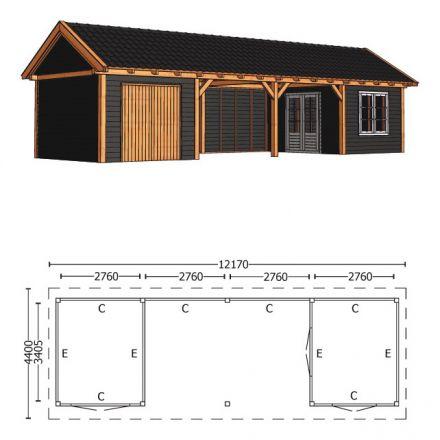 Trendhout | Zadeldakschuur XL 12170 mm | Combinatie 5