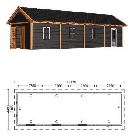 Trendhout | Zadeldakschuur XL 12170 mm | Combinatie 6
